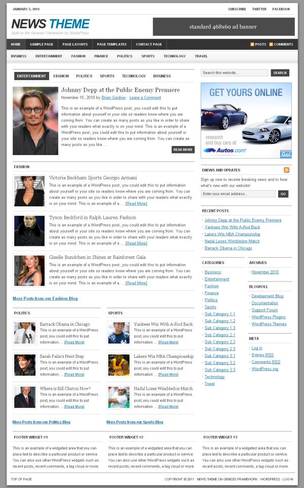 StudioPress News Theme