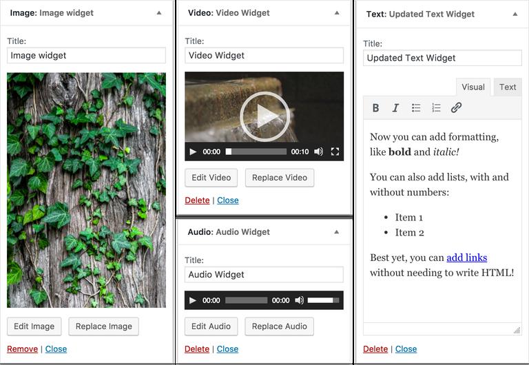 Vier nieuwe WordPress Widgets